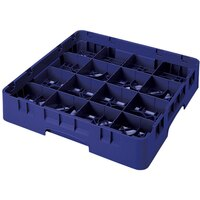 Cambro 16S1114186 Camrack 11 3/4 inch High Navy Blue 16 Compartment Glass Rack