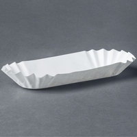 Medium Weight 6 inch White Paper Fluted Hot Dog Tray - 500/Pack