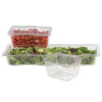Carlisle 6984407 Modular Displayware 1/2 Size Clear Wavy Edge Food Pan - 4 inch Deep - 6 / Case