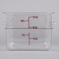 Cambro 12SFSCW135 12 Qt. Clear Square Polycarbonate Food Storage Container with Winter Rose Gradations