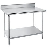 Advance Tabco KLG-306 30 inch x 72 inch 14 Gauge Work Table with Galvanized Undershelf and 5 inch Backsplash