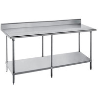 Advance Tabco SKG-2412 24 inch x 144 inch 16 Gauge Super Saver Stainless Steel Commercial Work Table with Undershelf and 5 inch Backsplash