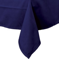54 inch x 96 inch Navy Blue 100% Polyester Hemmed Cloth Table Cover