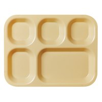 Cambro 10145CW133 Camwear 10 inch x 14 1/2 inch Beige 5 Compartment Serving Tray - 24/Case
