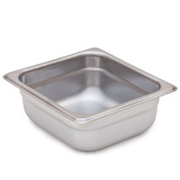 2 1/2 inch Deep, 1/6 Size Standard Weight Stainless Steel Steam Table / Hotel Pan Anti-Jam