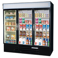 Beverage Air Market Max MMRF72-5-B-LED F/C/C Black 3-Glass Door Dual Merchandising (1) Freezer / (2) Refrigerator with LED Lighting - 72 Cu. Ft.