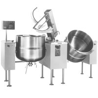 Cleveland TMKDL-125-T 125 Gallon Tilting 2/3 Steam Jacketed Direct Steam Twin Mixer Kettle