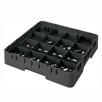 Cambro 16S434110 Camrack 5 1/4 inch High Black 16 Compartment Glass Rack
