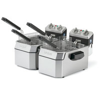 Waring WDF1500BD Heavy Duty Double 15 lb. Commercial Countertop Deep Fryer Set - 208V