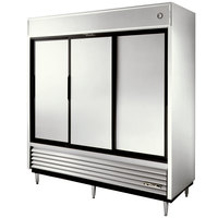 True TSD-69 78 inch Three Section Solid Sliding Door Reach in Refrigerator - 69 Cu. Ft.