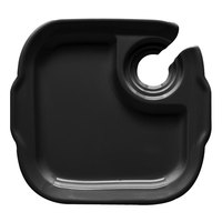 GET PP-975 Let's Party 9 3/4 inch x 9 inch Black Plate with Stemware Hole   - 12/Case