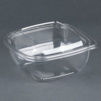 Sabert C18048TR150 Bowl2 48 oz. Clear PETE Square Tamper Evident Bowl with Lid   - 150/Case