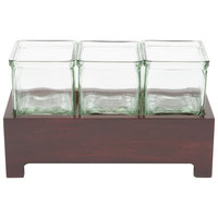 Cal-Mil 1549-4-52 Westport Three Jar Wooden Display - 12 1/2 inch x 4 3/4 inch x 4 inch