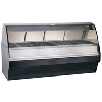 Alto-Shaam TY2SYS-96/PR BK Black Heated Display Case with Curved Glass and Base - Right Self Service 96 inch