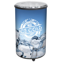 Ice Hawk 5005 Insulated Portable Round Barrel Beverage Cooler / Merchandiser with Lid and Casters 70 Qt. - Black