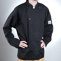 Chef Revival J030BK-5X Chef-Tex Size 64 (5X) Black Customizable Poly-Cotton Traditional Chef Jacket