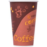 Choice 16 oz. Poly Paper Hot Cup with Coffee Design - 50/Pack