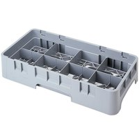 Cambro 8HS638151 Soft Gray Camrack 8 Compartment 6 7/8 inch Half Size Glass Rack