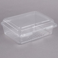 Dart C80UT1 StayLock 10 1/2 inch x 8 5/8 x 3 3/4 inch Clear Hinged Plastic 10 1/2 inch Deep Base Oblong Container - 200/Case