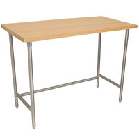 Advance Tabco TH2S-366 Wood Top Work Table with Stainless Steel Base - 36 inch x 72 inch