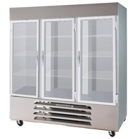 Beverage Air HBF72-5-G-LED Three Glass Door Bottom Mount Reach In Freezer - 72 Cu. Ft.
