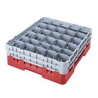 Cambro 30S958163 Red Camrack 30 Compartment 10 1/8 inch Glass Rack