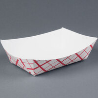 5 lb. Red Check Paper Food Tray 500 / Case