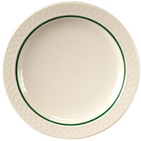 Homer Laughlin 1430-0345 Green Jade Gothic Off White 7 1/4 inch Narrow Rim Plate - 36/Case
