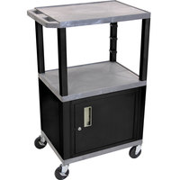 Luxor / H. Wilson WT2642GYC2E-B Gray Tuffy Two Shelf Adjustable Height A/V Cart with Locking Cabinet - 18 inch x 24 inch