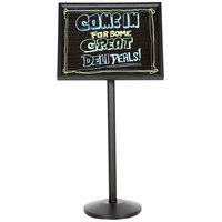 Aarco Single Pedestal Black Frame Black Marker Board with Neon Markers
