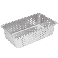 Vollrath 30063 Super Pan V Full Size Anti-Jam Stainless Steel Perforated Steam Table / Hotel Pan - 6 inch Deep