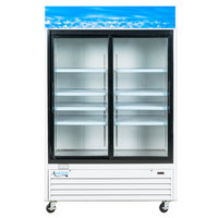Avantco GDS47 53 inch Sliding Glass Door White Merchandiser Refrigerator with LED Lighting - 45 cu. ft.