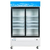 Avantco GDS47 53 inch Sliding Glass Door White Merchandiser Refrigerator