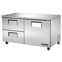 True TUC-60D-2 60 inch Deep Undercounter Refrigerator with One Door and Two Drawers
