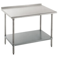 16 Gauge Advance Tabco FAG-366 36 inch x 72 inch Stainless Steel Work Table with 1 1/2 inch Backsplash and Galvanized Undershelf