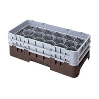 Cambro 17HS958167 Camrack 10 1/8 inch High Brown 17 Compartment Half Size Glass Rack