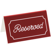 Cal-Mil 273-1 5 inch x 3 inch Red/White Double-Sided Reserved Tent Sign