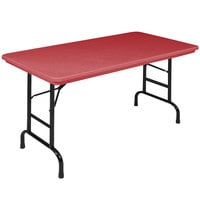 Correll R-Series RA2448 24 inch x 48 inch Red Plastic Adjustable Height Folding Table