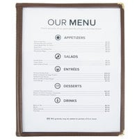8 1/2 inch x 11 inch Four Pocket Menu Cover - Brown
