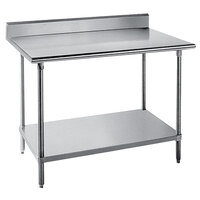 Advance Tabco KMS-242 24 inch x 24 inch 16 Gauge Stainless Steel Commercial Work Table with 5 inch Backsplash and Undershelf
