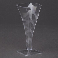 Fineline Tiny Temptations 6409-CL 2 oz. Tiny Barware Clear Plastic Square Champagne Flute - 96 / Case