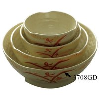 Thunder Group 3708GD Gold Orchid 40 oz. Round Melamine Wave Rice Bowl - 12/Case