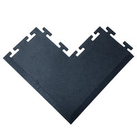 Cactus Mat 2560-COC Tile Lock 12 inch x 24 inch Black Rubber Interlocking Outside Corner Weight Room Mat - 3/8 inch Thick
