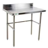 Regency 16 Gauge 24 inch x 30 inch Stainless Steel Commercial Open Base Work Table with 4 inch Backsplash