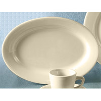 CAC REC-51 American White (Ivory / Eggshell) Wide Rim 15 1/2 inch x 10 inch Rolled Edge China Platter 12 / Case