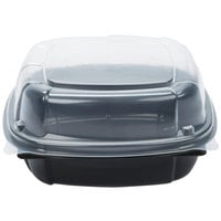 22 oz. Black 6 inch x 6 inch x 3 inch Square Microwaveable Plastic Hinged Take-Out Container   - 171/Case