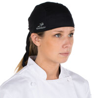 Headsweats 8800-802 Black 100% Performance Fabric Adjustable Chef Bandana / Do Rag