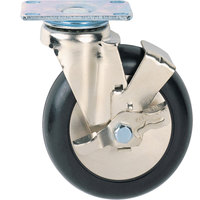 Metro C8PB 8 inch Super Erecta Polyurethane Swivel Plate Caster with Brake