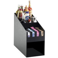 Cal-Mil 2043 Classic Black Condiment Organizer with Napkin Dispenser Slot - 9 inch x 19 1/4 inch x 16 3/4 inch