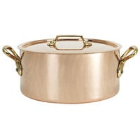 De Buyer 6447.24 6.3 Qt. Copper Sauce Pot / Stew Pan with Handles and Lid